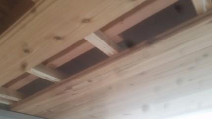 軒天杉板貼り