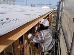 2階部柱や間柱取り付け作業