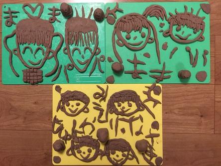 粘土で家族の顔作品