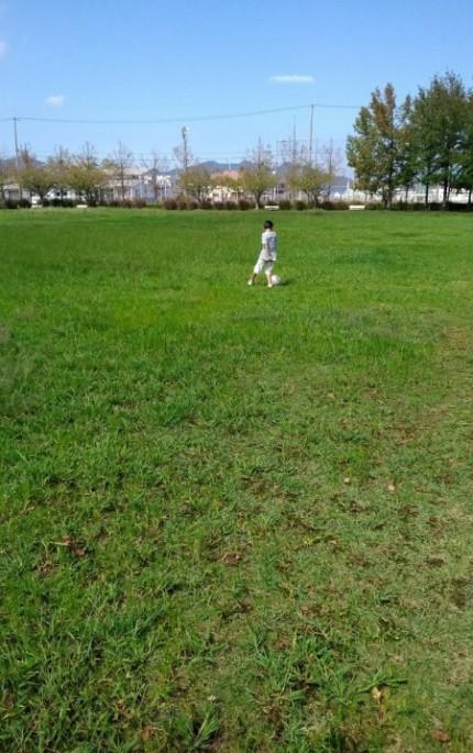 長男とサッカー