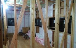 2階壁断熱施工