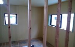 S様邸新築工事 2階の壁ボード貼り