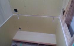 書斎部屋家具作り 腕木差込口施工