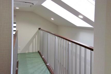 天窓で自然の光をリビングまで届けるように設計