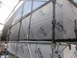 外周周りの防水シート貼り完了