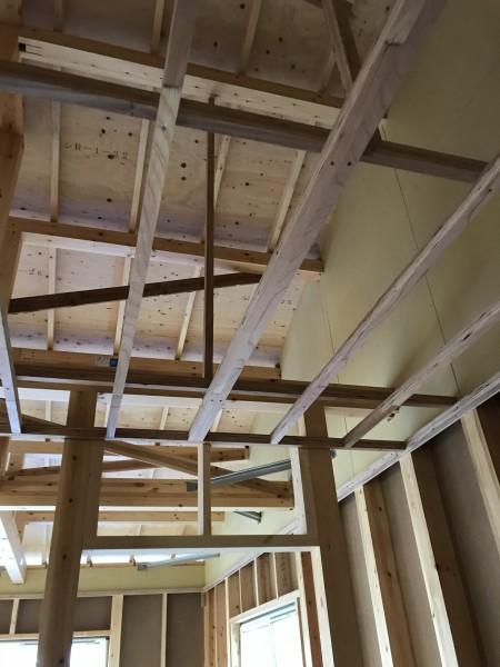 二階天井下地施工