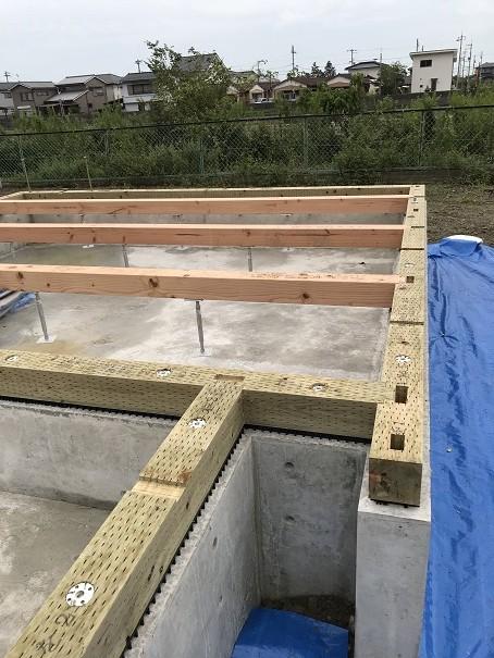 鳴門新築工事土台敷き