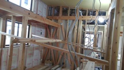 子供部屋の天井ボード張り